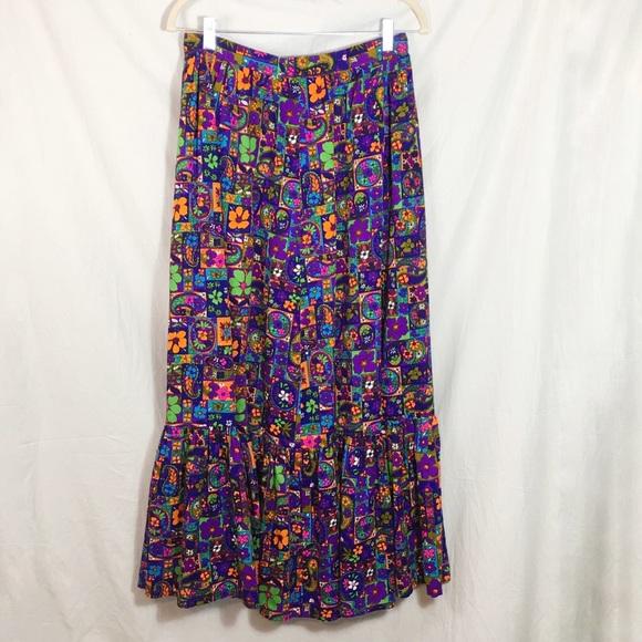 Vintage Dresses & Skirts - Vintage 1960s Colorful Maxi Skirt
